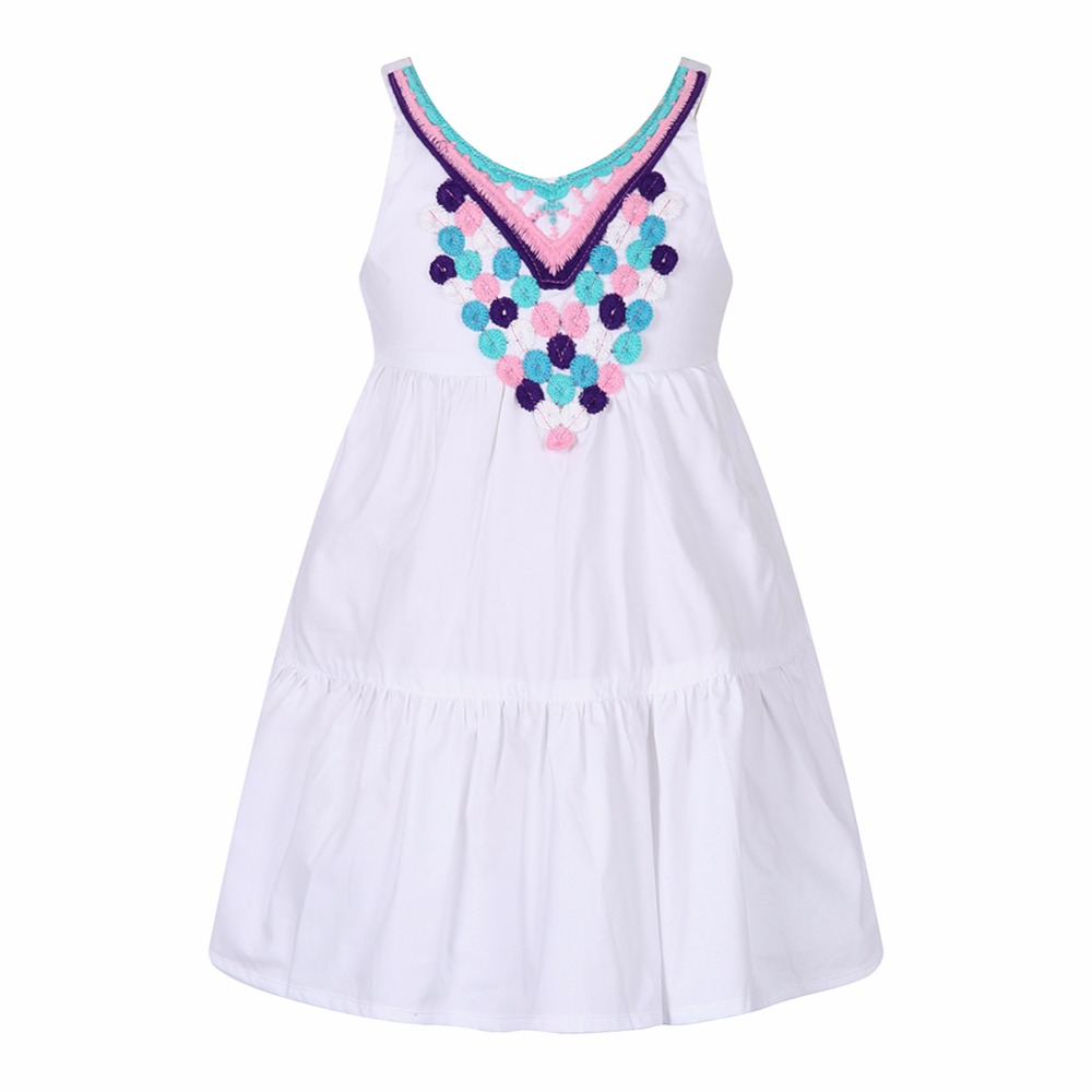 Girl Summer Dress Embroidery Robe Fille Princess Beach Dress Kids Costumes 2017 Brand Shoulderless Children Dresses for Girls(China (Mainland))