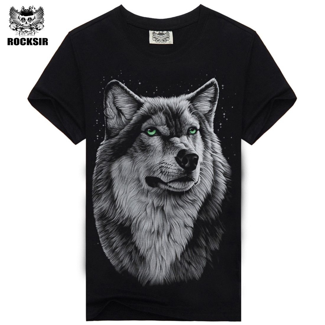 Rocksir 3d wolf t shirt mens Brand 3D Indians wolf Print t shirts Cotton wolves Men t-shirt Casual Man Tees Mens Tops 5