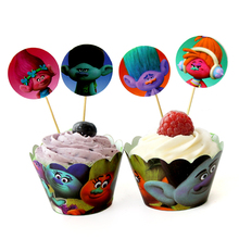 24pcs/lot Film Trolls Cupcake toppers picks decoration for Kids birthday party favors Decoration Baby shower cake favor supplies