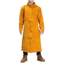 NEW Durable Leather Welding Long Coat Apron Protective Clothing Apparel Suit Welder Workplace Safety Clothing(China)