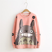 Hoodies Female Louis 2017 Harajuku Totoro Animal Printing Cotton Sweatshirts Women Long Sleeves O-neck Sudaderas Hoodie Tops(China)