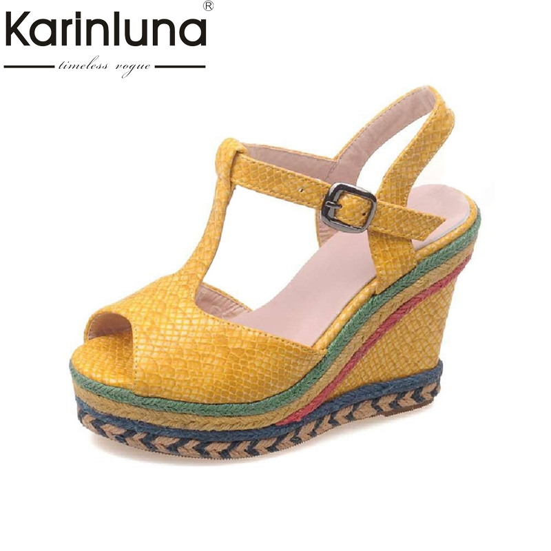 KARINLUNA New Big Size 32-43 Colorful Peep Toe Platform Woman Shoes T-strap Wedges High Heels Party Wedding Sandals<br>
