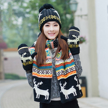 Wool Snow Cap Knitted Scarves Hat Glove Set Women Winter Warm Plush Pompoms Beanies Gold Bonnet X-mas Deer Scarf Gloves(China)