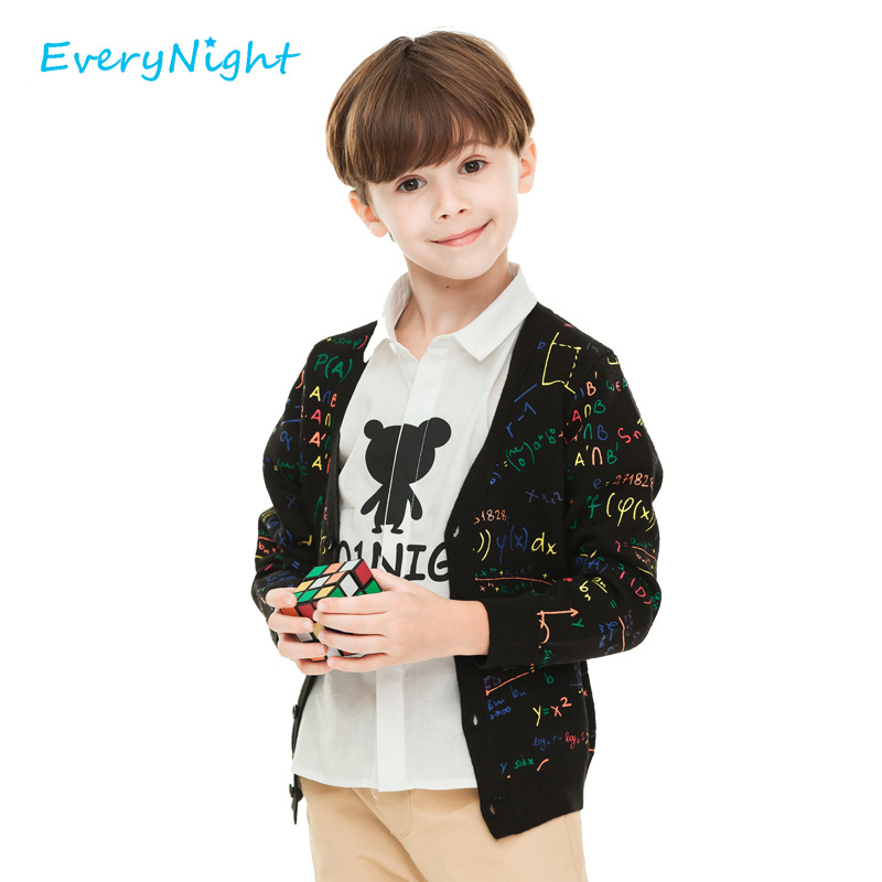 Every Night Knitted Cardigan Sweater Children Cotton Boys V-Neck Printed Long Sleeved Tops Coat 2017 Spring Autumn Boy Clothing(China (Mainland))