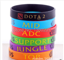 50pcs/Lot, New Trendy LOL League of Legend Wristband, Silicon Bracelet with ADC, JUNGLE, MID, SUPPORT, DOTA 2 Printed Band,(China)