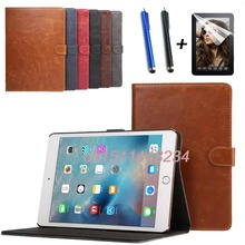 high quality fashion tablet stand Leather case cover for ipad mini 4 Smart case mini4 A1538 A1550+Screen protection film+stylus