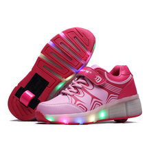 2017 Spring Summer Teenagers Pulley Shoes Double Wheels LED Switch Rechargeable Adult Light Shoes Glowing Skating Shoes(China)