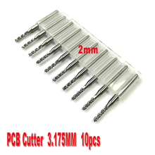 free shipping 10pcs 2.0mm PCB end mills Carbide Tools, CNC Cutting Bits, Millinging Cutters Kit for Engraving Mill Machine