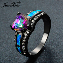 JUNXIN Bohemian Female Blue Fire Opal Heart Ring Fashion Rainbow Ring Black Gold Filled Jewelry Vintage Wedding Rings For Women