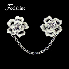 Vintage Retro Jewelry Silver Color Alloy Flower Rhinestone Chain Brooches for Women