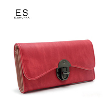 Vintage Fashion Women Wallet 2017 Casual PU Leather Long Wallet Clutch Purse High Quality Metal Hasp Womens Wallets And Purses(China)