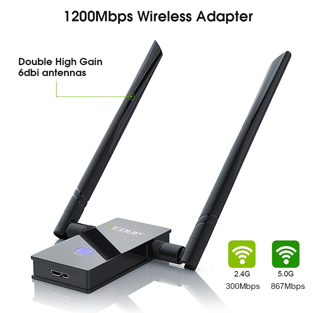 5ghz wireless usb wifi adapter 1200mbps high gain thtough-wall double 6 dbi wifi antennas dual band usb network card 802.11ac(China (Mainland))