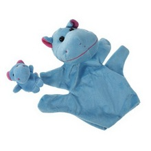 1 Pair Blue Hippo Hand Puppet Finger Puppet Animal Glove Puppet Hand Dolls Plush Toy(China)