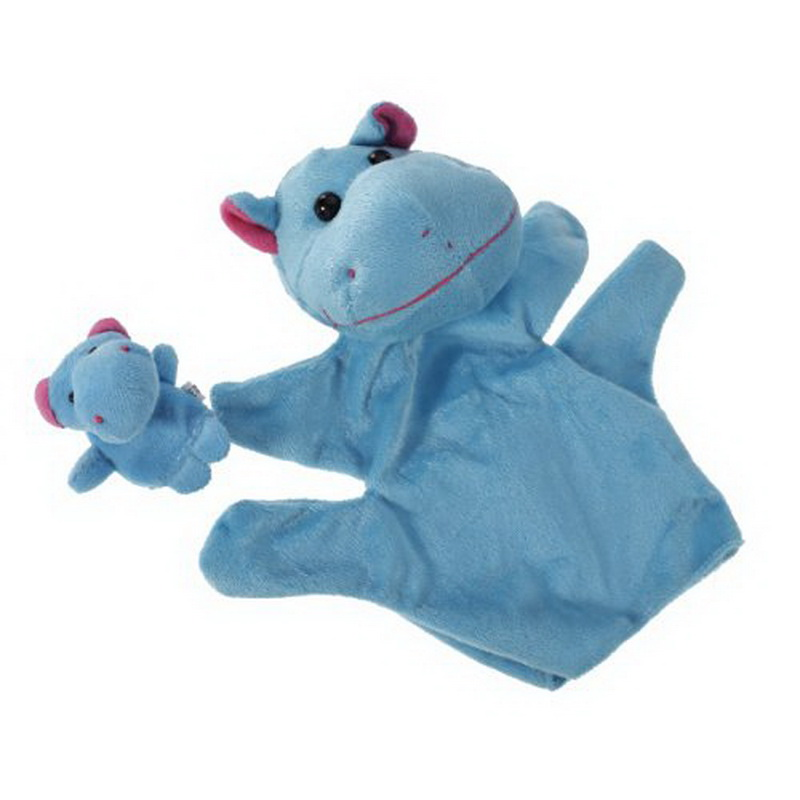 1 Pair Blue Hippo Hand Puppet Finger Puppet Animal Glove Puppet Hand Dolls Plush Toy(China (Mainland))