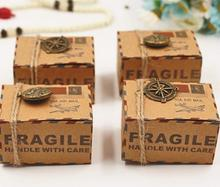 Vintage kraft paper favor box with compass globe pendants Airplane Air Mail Parcel candy gift box birthday party wedding decor(China)
