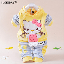 2017 Baby Girls Clothes Kitty Clothing Sets Girl Fashion Velvet Tracksuit Kids Sport Clothes Hoody Jackets+Pants 2Pieces suit(China)