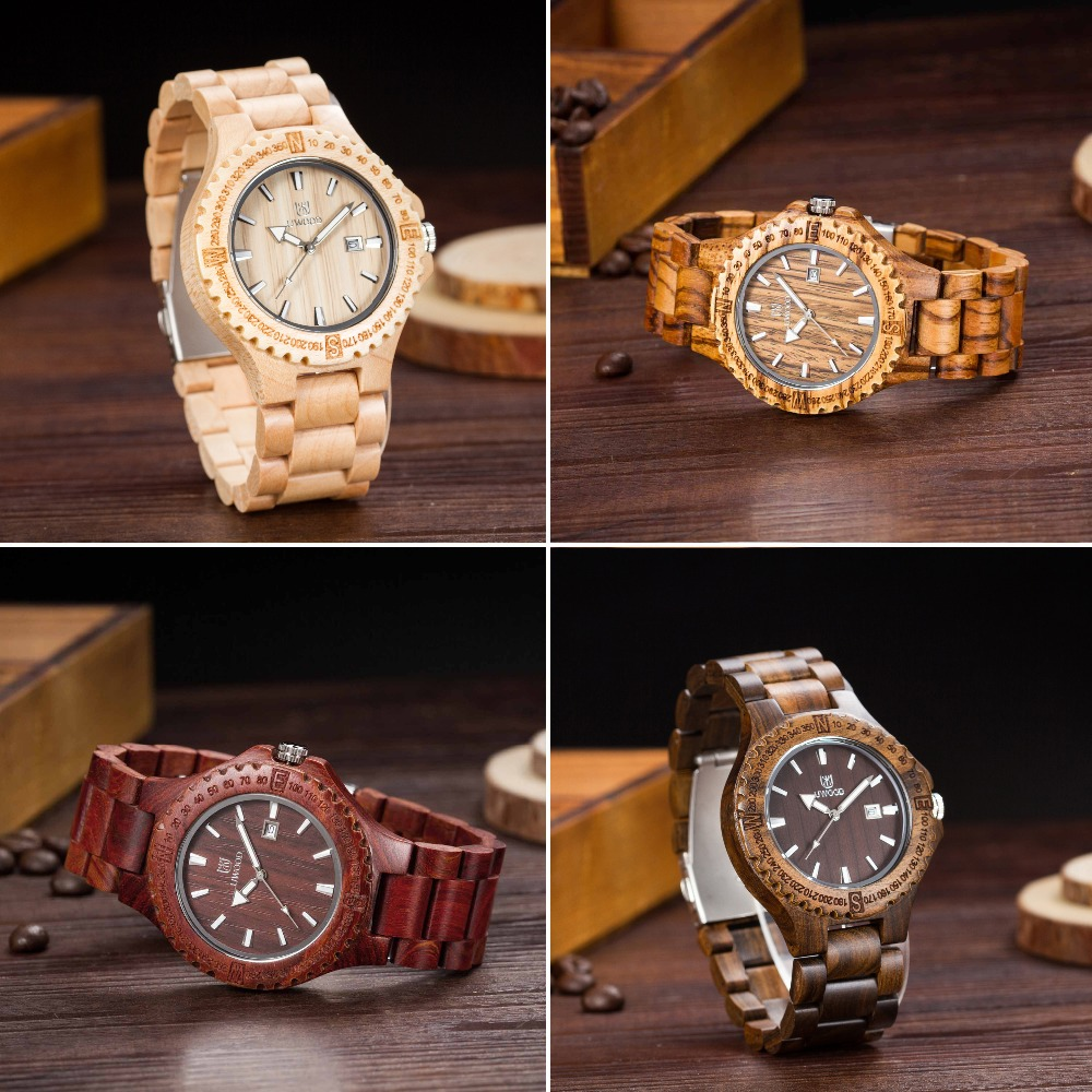Fashion Special wood design Mens Wooden Watch Quartz Wood Watches Analog Date Display  Luxury Brand Fashion Sandal Wristwatch<br>