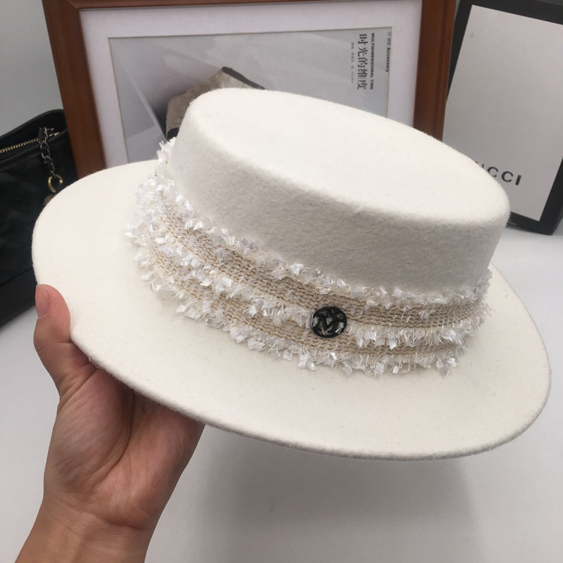 new wool hat thin metal ring cap white wide brim sun hat fashion female hat