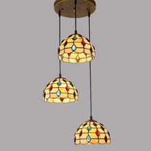 Tiffany restaurant Pendant Lights with 3 head entrance balcony aisle warm Mediterranean Tiffany art lamps one generation