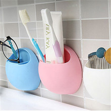 11x5cm Mini Soap Shelf Bathroom Kitchen Colorful Hook Holder Sponge Toothbrush Storage Double Sucker Rack New(China)