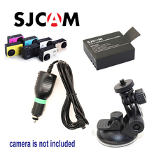 Free Shipping!! Original Car Charger +Suction cup bracket+ 3.7V Li-ion Rechargable Battery For SJ4000 SJ5000 Sport Camera DV(China)