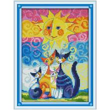 Cats and The Sun Counted Cross Stitch 11CT printed 14CT Cross Stitch cartoon Cross-Stitch Kit Handmade Embroidery for Needlework