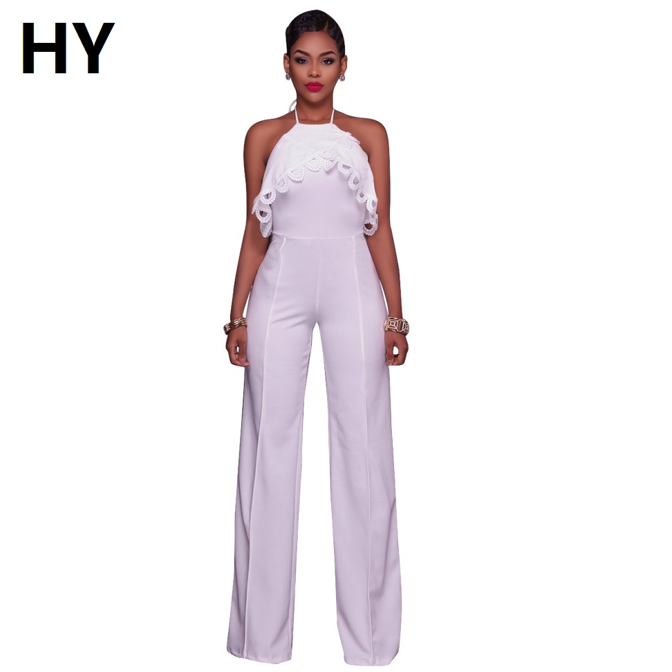 White Lace Off Shoulder Jumpsuit Party  Sexy Women Spaghetti Strap Rompers Backless Summer Ladies Overalls Wide Leg Jumpsuit NEW