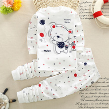 2018 summer Newborn Baby girls Clothing Set Cartoon cotton Baby boys Clothes Long Sleeve Unisex Baby Clothing Set 2pcs(China)