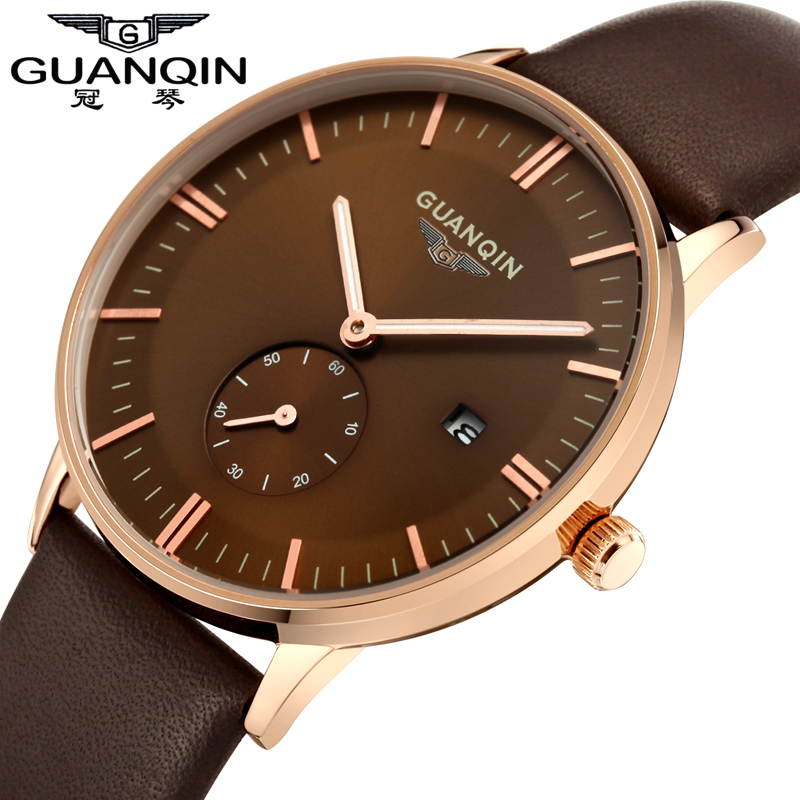 Fashion Men Watch GUANQIN Casual Watches Top Brand Luxury Leather  Wristwatches male Quartz Watch Mens business clock hour gift<br>