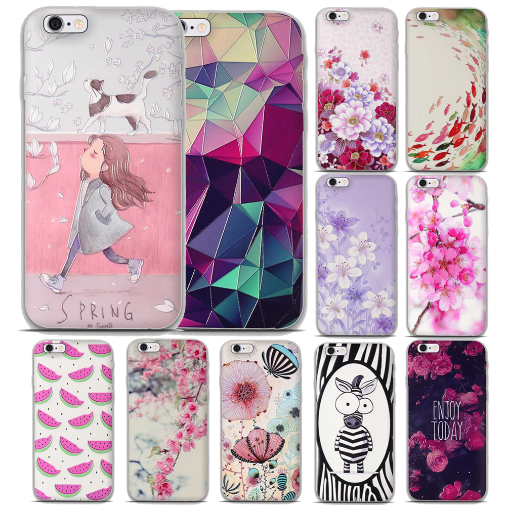 Soft Silicone Case iPhone 6 6s plus Case Cover iPhone 5 5s SE Case 3D Relief Printing Flower iPhone 7 8 plus Cover