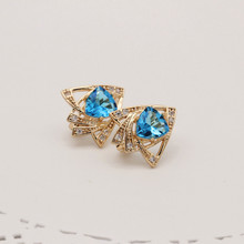 1 Pair Luxury Vintage Rose Gold Color Women Jewelry Accessories Heart Shape Design Blue Zircon Dangle Earrings Designs for Women