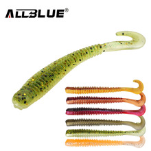 ALLBLUE 8pcs/lot 8cm 2g Silicone Ribbed Body Curly Tail Soft Lure Curltail Grub Artificial Bait for Bass&Perch&Pike Fishing Lure(China)