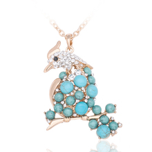 Fashion Necklaces Women Natural Turquoise Magpie Necklace Women Gold chain Long Bird Pendant Sweater Rhinestone Necklace T1599