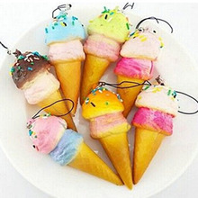 Ice Cream Cone Charms Stuffed Plush Ice Cream Mobile Phone Pendant Chain for Women Men(China)
