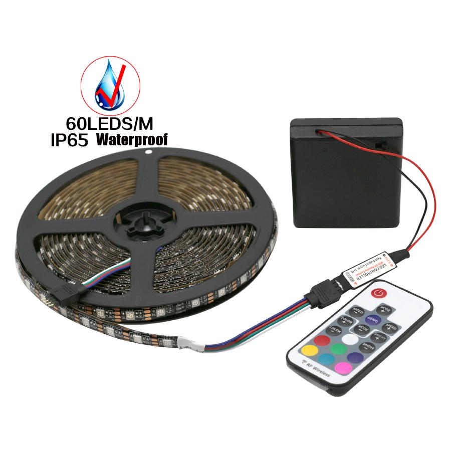 5V RGB Led Strip 5050 Waterproof/Non Waterproof Battery Operated Backlight TV Fita de Diode Stripe +Mini RF Remote Controller