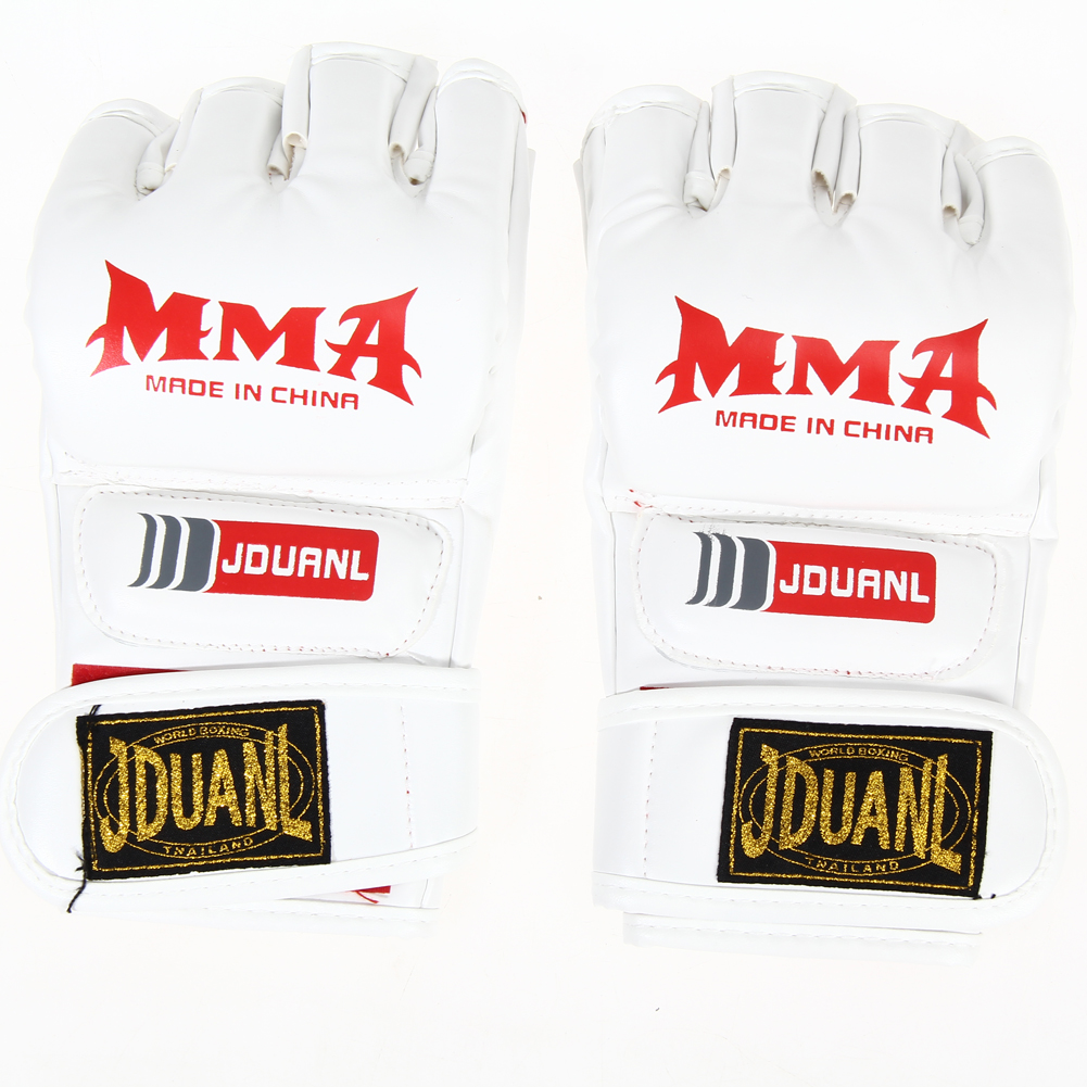 Boxing Gloves MMA Gloves Muay Thai Training Gloves MMA Boxer Fight Boxing Equipment Half Mitts PU Leather Black/Red 8