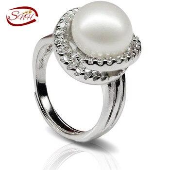 SNH Естественный пресноводный жемчуг кольца дизайн настоящее Подлинная культивированный жемчуг ювелирные изделия кольца стерлингового серебра 925 кольца перлы
