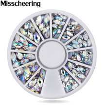 1 Pcs New Crystal AB Nail Art Rhineston Decoration, 1 wheel Mix Sizes Glitter Nail Beads,3d diy Beauty Nail Accessories tool