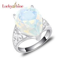 Promotion Jewelry Fire Rainbow Moonstone Siver Plated Wedding Rings Russia USA Holiday Gift Rings Australia Rings