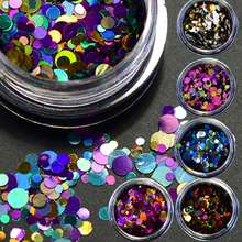 12 Bottles/set Round Nail Glitter Mixed 1/2/3mm Ultrathin Sequins Nails Art Decoration Multi Colors For DIY Manicure Accessories
