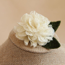 Beige Color Fabric Flower Brooch For Women Elegant Wedding Pins And Brooches Cute Ladies Brooches Fashion Jewelry