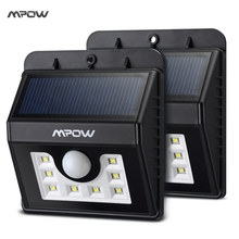 Mpow MSL6 2 Packs Weatherproof Solar Light 8 LED Lamp Security Motion Sensor Light Garden Lamp with Three Intelligent Modes