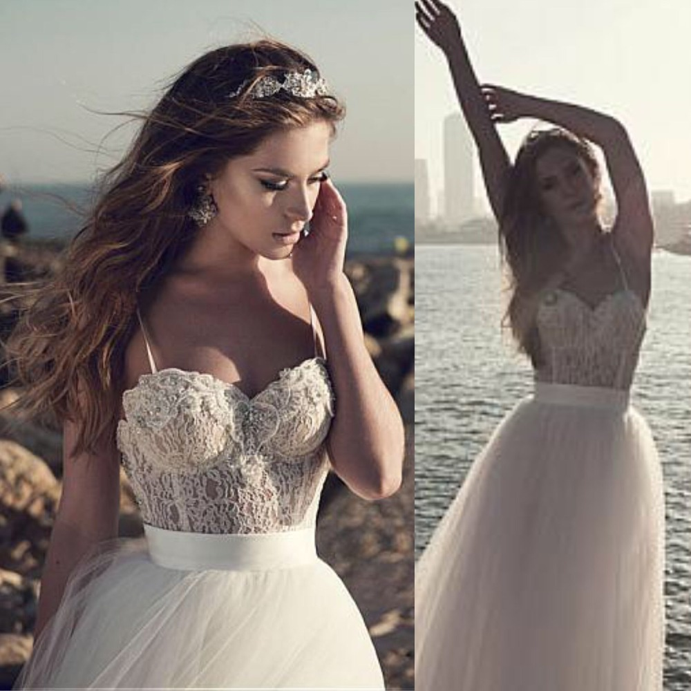 Fantastic Tulle Gowns Beach Wedding Dress Spaghetti Strap Lace Bodice Custom Made Cheap Bridal Dress Hot Sale
