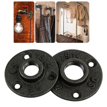 "Mayitr 1pc Thread BSP Malleable Iron 1/2"" 3/4"" Pipe Fittings Wall Mount Floor Antique 3 Hole Flange Piece Hardware Tool"