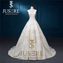 Jusere 2017 New Straps A line Box Fold Gird Hand Decoration Chapel Train Beading Puffy A line Arabic Luxury Wedding Dress