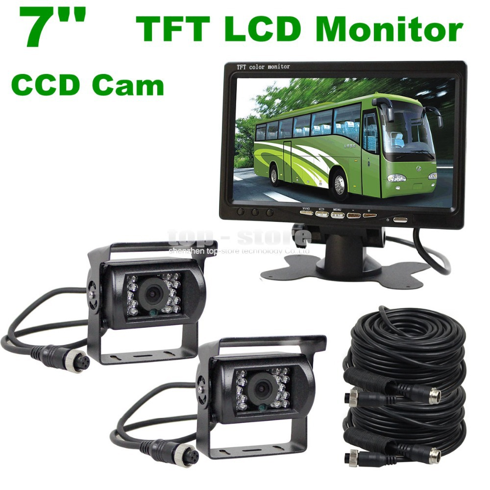 DIYKIT 2 x 4pin Night Vision CCD Rear View Camera Kit + DC 12V - 24V 7 inch TFT LCD Monitor System For Bus Houseboat Truck<br><br>Aliexpress