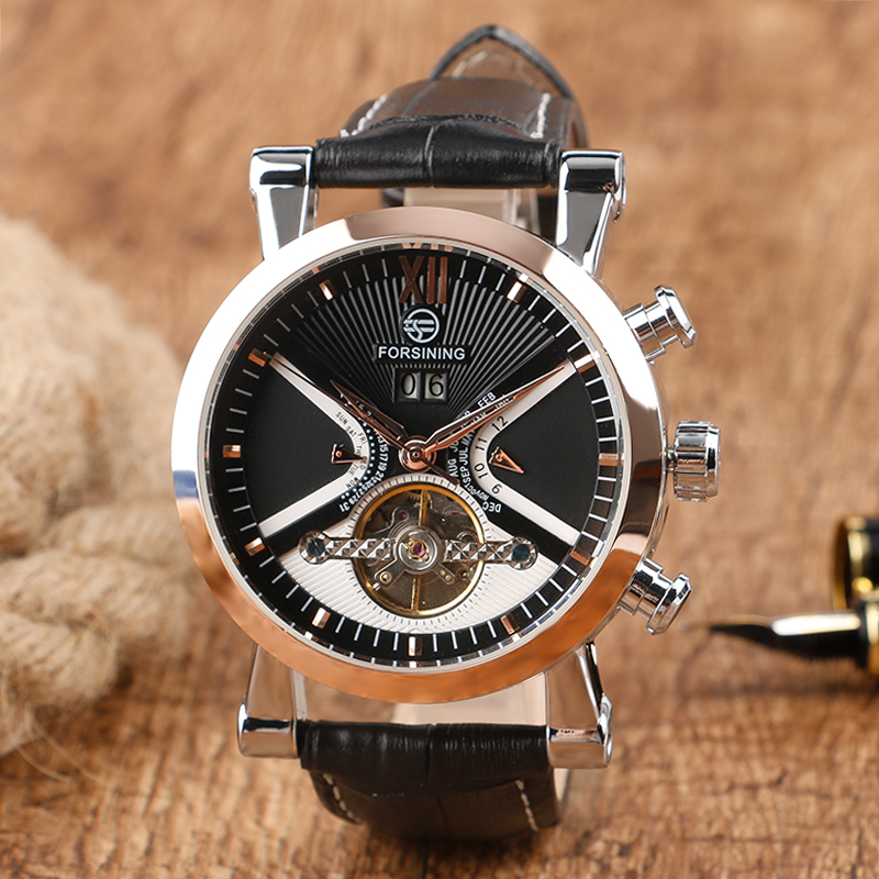 FORSINING Brand Casual Black Dial &amp; Rose Gold Case Mens Self-wind Mechanical Watches with Genuine Leather Band Reloj Hombre <br>