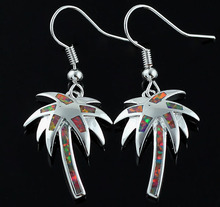 HAIMIS Hot Sale Created Brown Fire Opal Palm Tree Women Fashion Jewelry Earrings OE77(China)