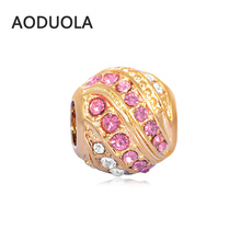 2Pcs Lot Stainless Steel Gold color with Pink CZ Beads DIY Big Hole Charm Bead for Jewelry Making Fit For Pandora Bracelet