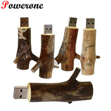 POWERONE Wholesales Newest Novelty Flash disk Wooden model branch memory stick pendive 8GB 16GB 32GB thumb drive U disk(China)